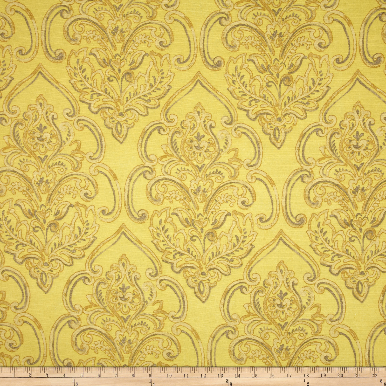 Duralee Home William Damask Yellow Fabric