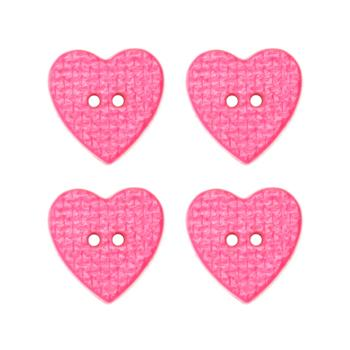 Novelty Button 3/4'' Woven Heart Pink