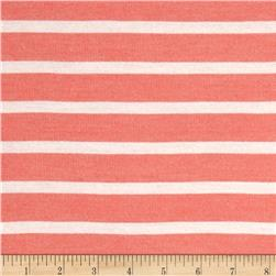 French Terry Stripe Coral/White
