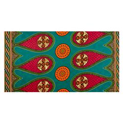 Supreme Bazin African Print 6 Yards Teal/Pink/Orange