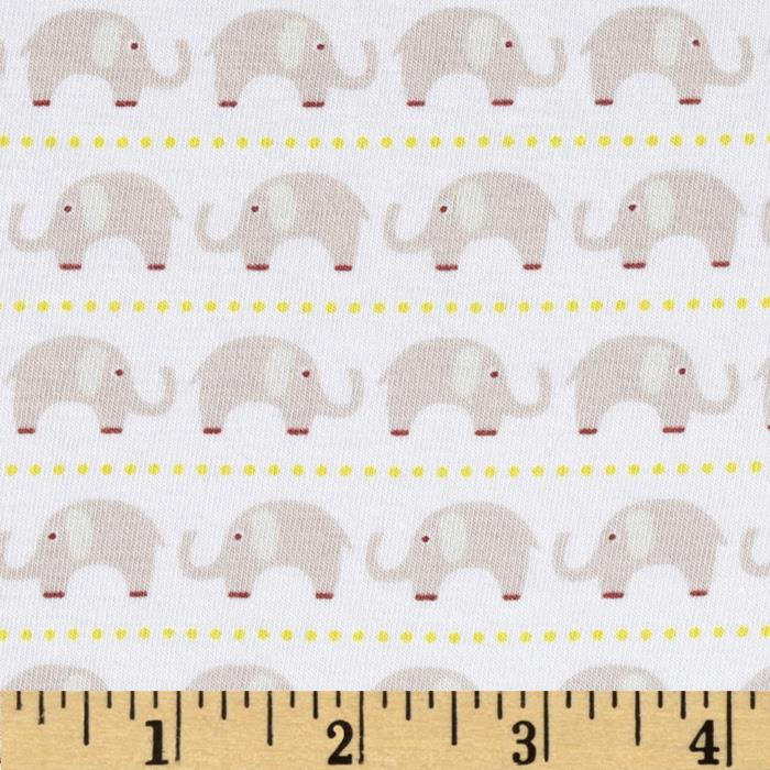 Riley Blake Cotton Jersey Knit Oh Boy Elephants Gray