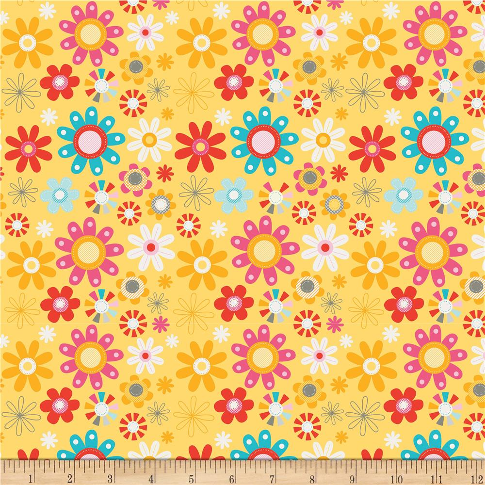 Riley Blake Girl Crazy Floral Yellow