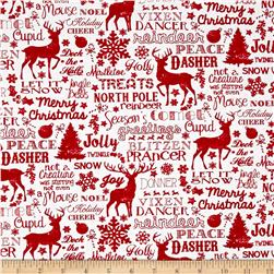 Timeless Treasures Jolly Christmas Words White