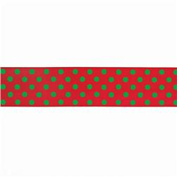 "1.5"" Grosgrain Polka Dots Red/Green"
