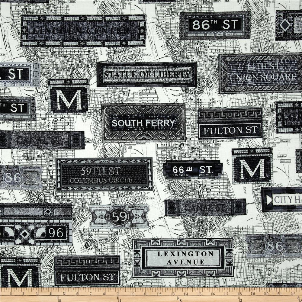 New York State Of Mind Subway Black White Discount Designer Fabric Fabric