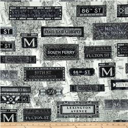 New York State Of Mind Subway Black/White Fabric