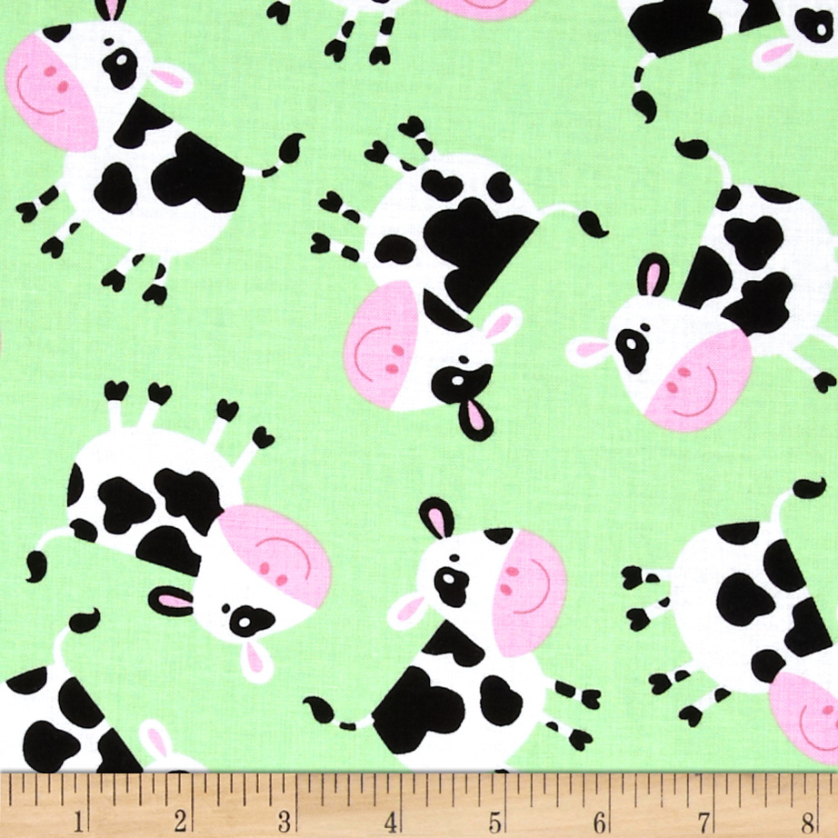 Timeless Treasures Cows Green Fabric