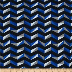 Fashionista Jersey Knit Wide Geo Chevron Blue