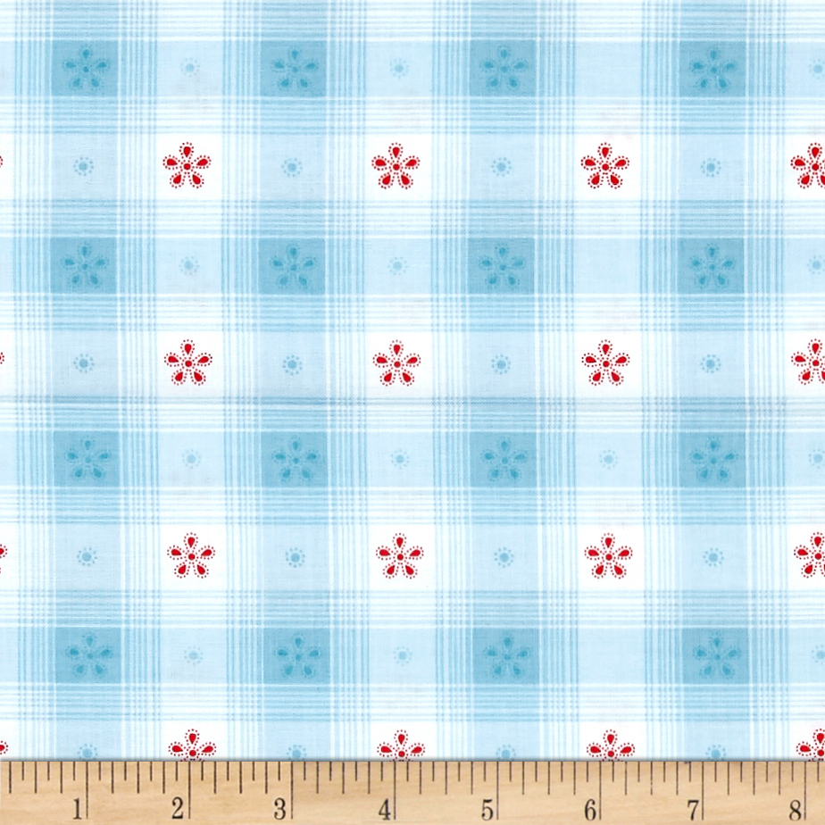 Simply Chic Toile Check Sky Blue Fabric