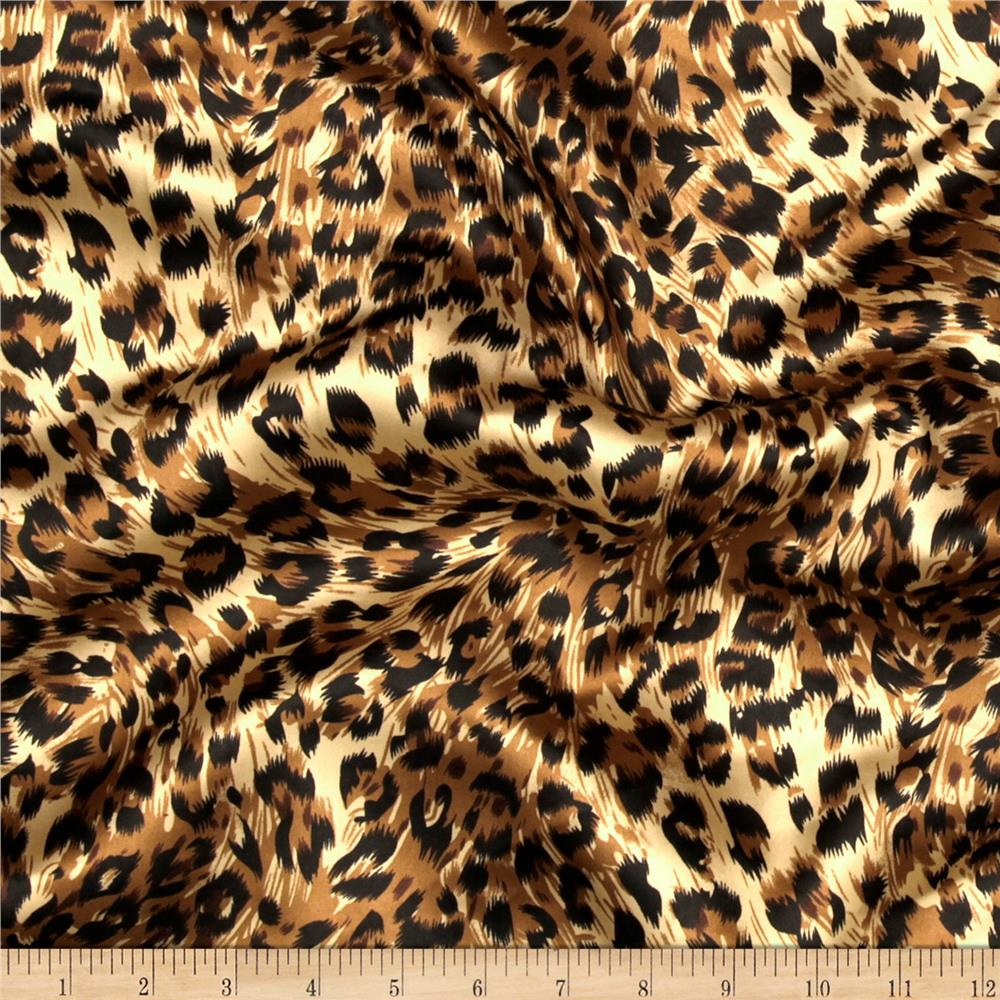 Leopard Print Fabric charmeuse satin big cheetah tan/brown/black - discount designer