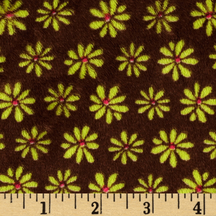 Kaufman Minky Cuddle Blossom Party Brown/Kiwi Fabric