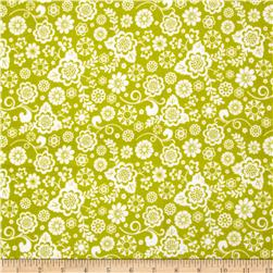 Riley Blake Fancy Free Flannel Floral Green