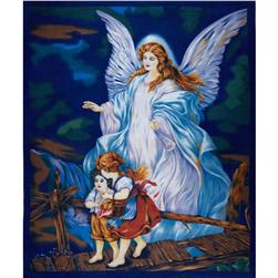 Guardian Angel Fleece Panel Blue Fabric