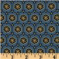 Asuka Metallic Floral Geo Dusty Blue/Gold