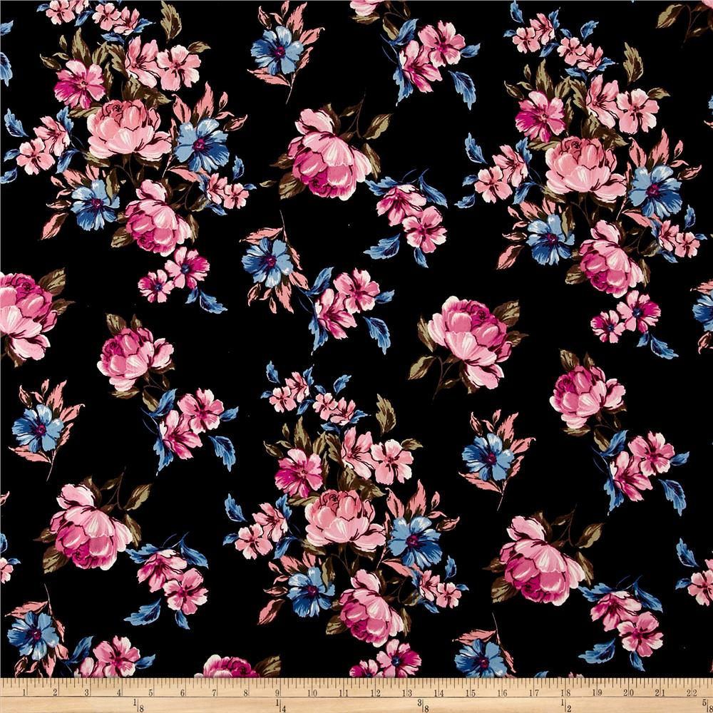 Double Brushed Printed Jersey Knit Blooms Black/Pink/Blue Fabric