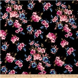 Double Brushed Printed Jersey Knit Blooms Black/Pink/Blue