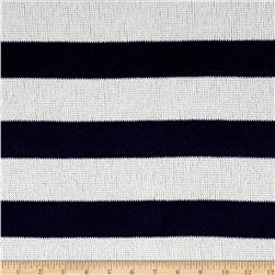 Lightweight Sweater Knit Stripe Navy White
