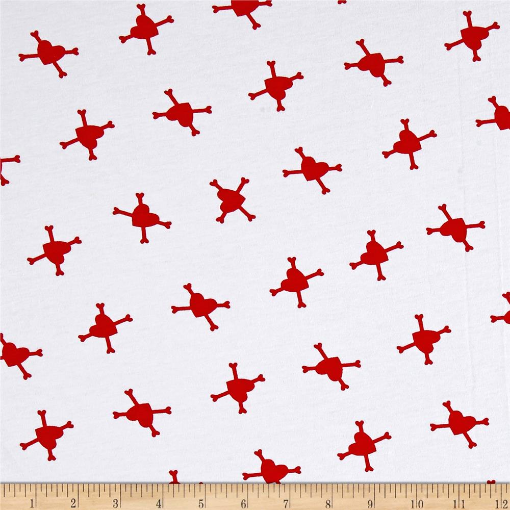 Cotton Jersey Knit Hearts and Crossbones White/Red Fabric