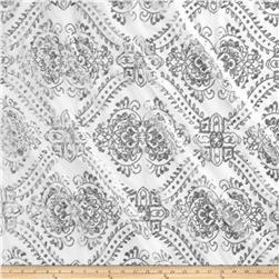 Starlight Sequined Mesh Damask White/Silver Fabric