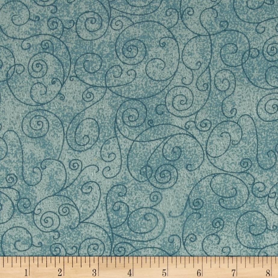 """110"""" Wide Quilt Back Flannel Willow Aqua"""
