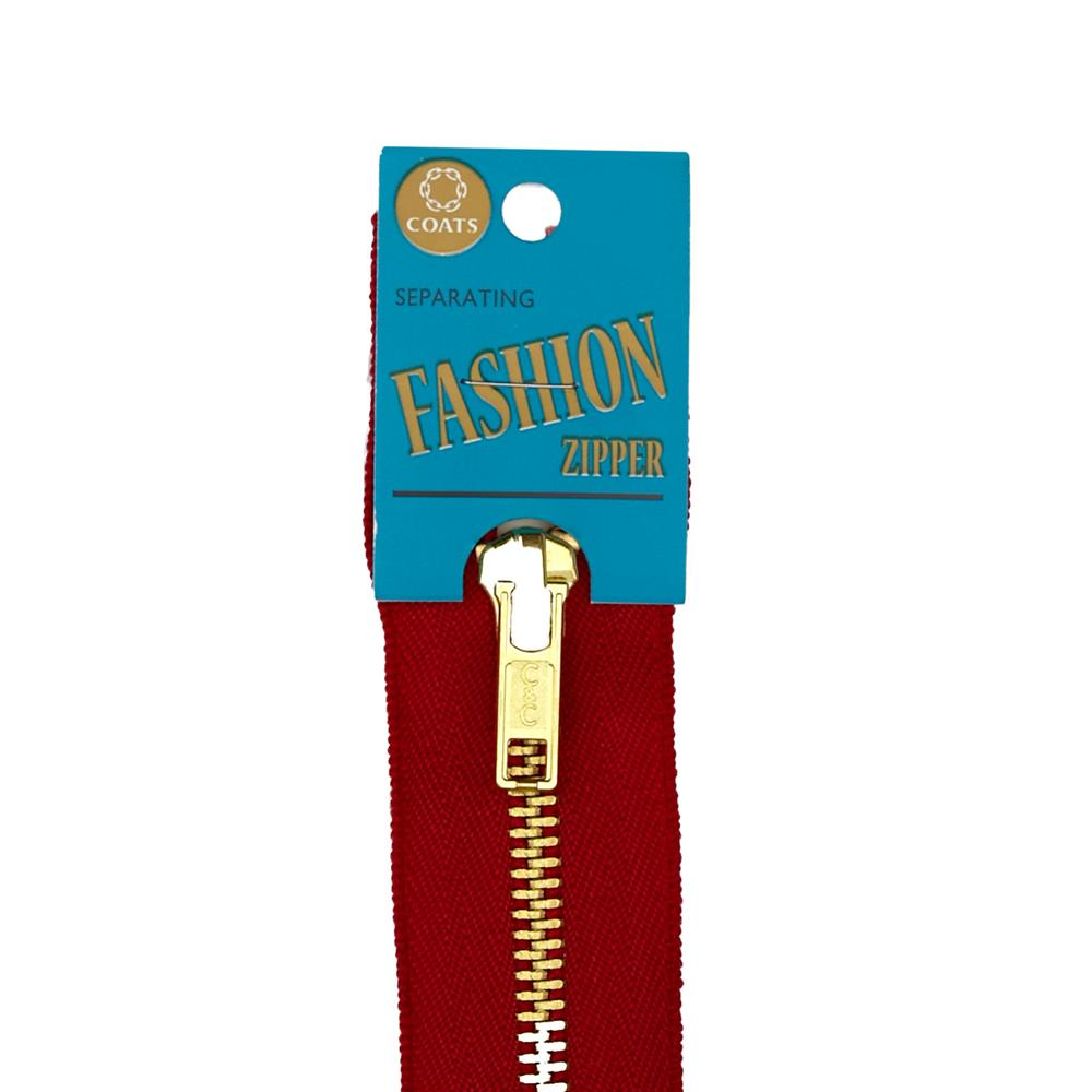 "Coats & Clark Fashion Brass Separating Zipper 18"" Red"
