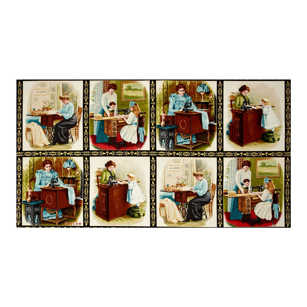"Kaufman Sewing With Singer Metallic Scene Blocks 24"" Panel Antique"