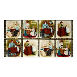"Sewing With Singer Metallic Scene Blocks 24"" Panel Antique"