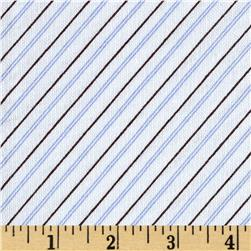 French Terry Diagonal Stripe White/Blue/Brown