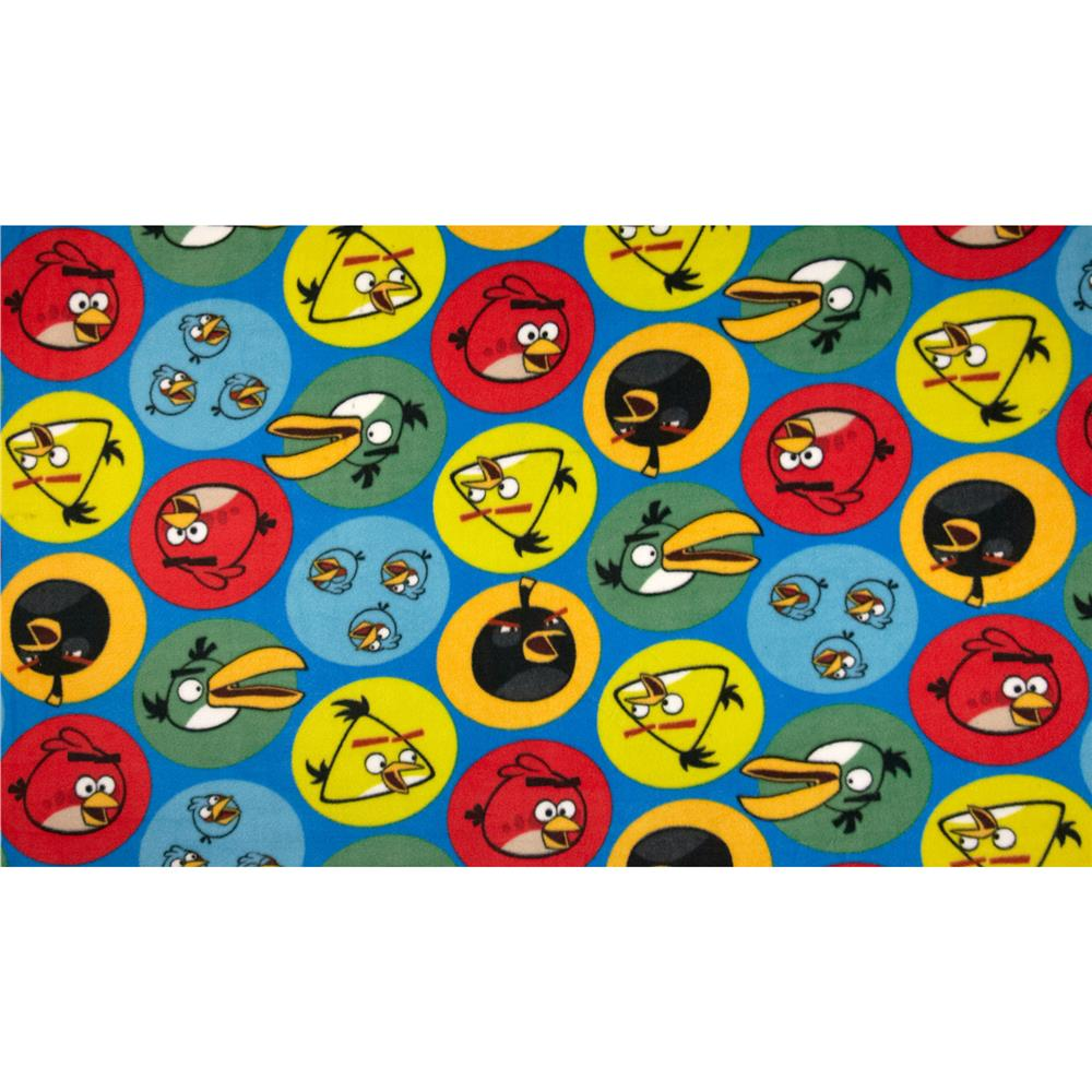 Angry Birds Fleece Circles Blue Fabric By The Yard