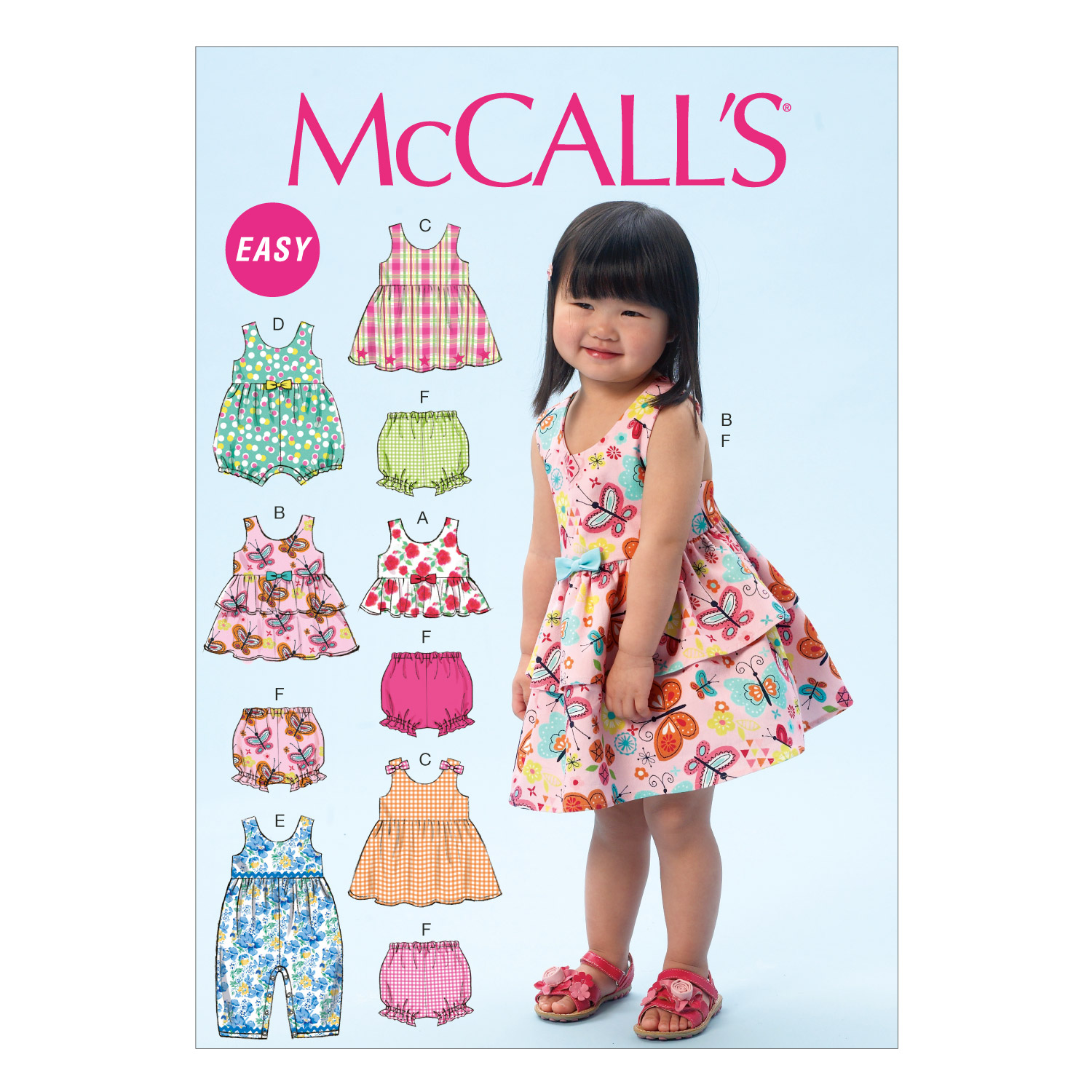 Image of McCall's Children's/Girls' Top Dresses Shorts and Leggings Pattern M6944 Size CAA