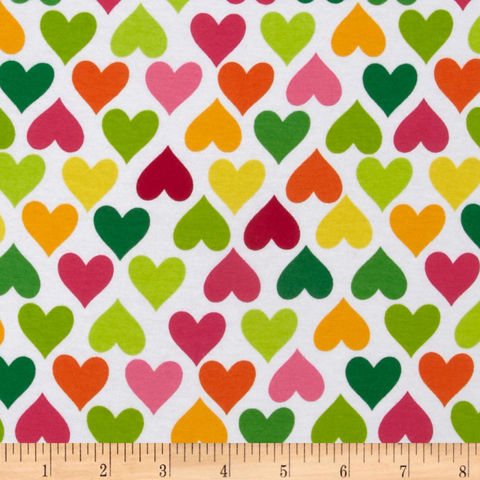 Kaufman Laguna Stretch Jersey Knit Hearts Summer Fabric