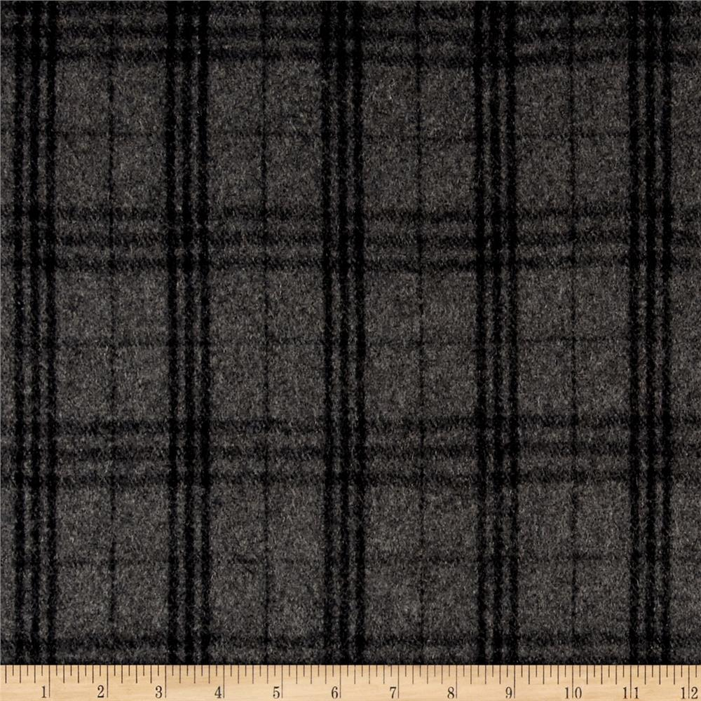 Wool Blend Melton Black Plaid