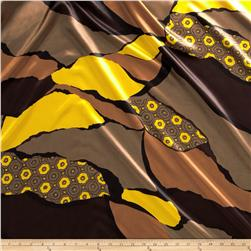 Charmeuse Satin Foulard Geo Brown