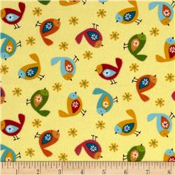 Woodland Friends Flannel Birds Yellow Multi