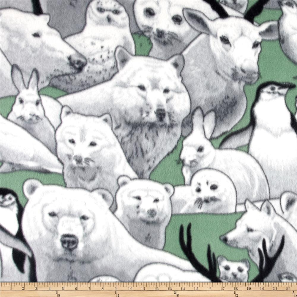 Polar Fleece Print Artic Friends Teal Fabric By The Yard