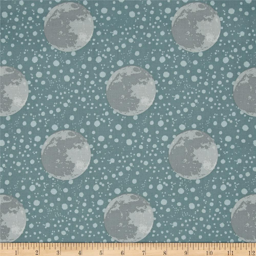 To the moon back earth blue grey discount designer for Space themed fleece fabric