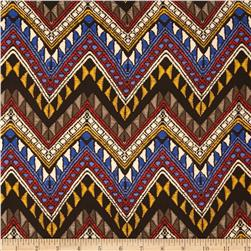 Picasso Rayon Poplin Chevron Blue/Multi Fabric