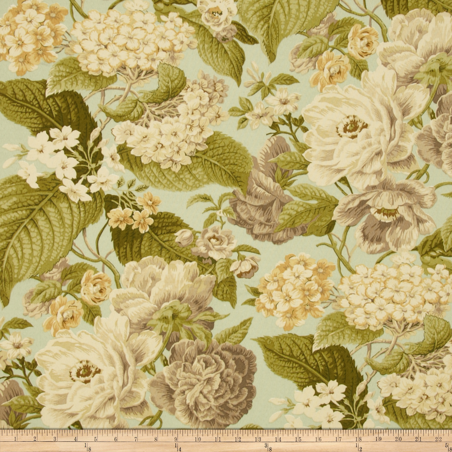 Tempo Indoor/Outdoor Floral Celadon Fabric by Tempro in USA