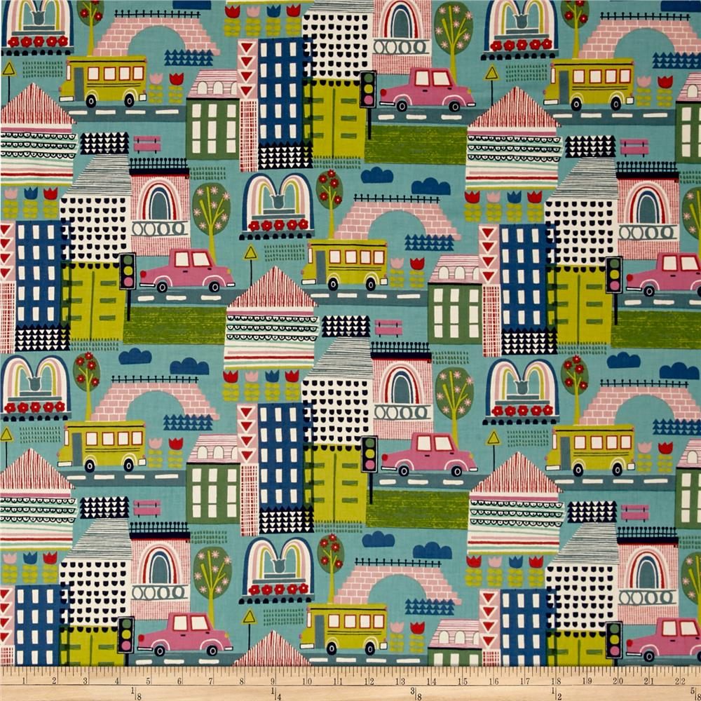 Alexander Henry Everyday Eden Pretty City Linen/Turq Fabric