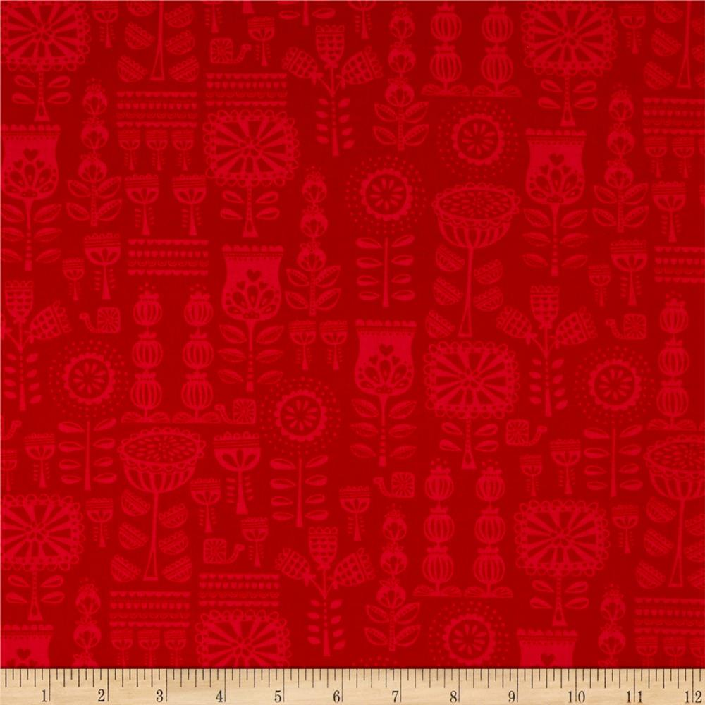 Moda Lil' Red Grandma's Wallpaper Red