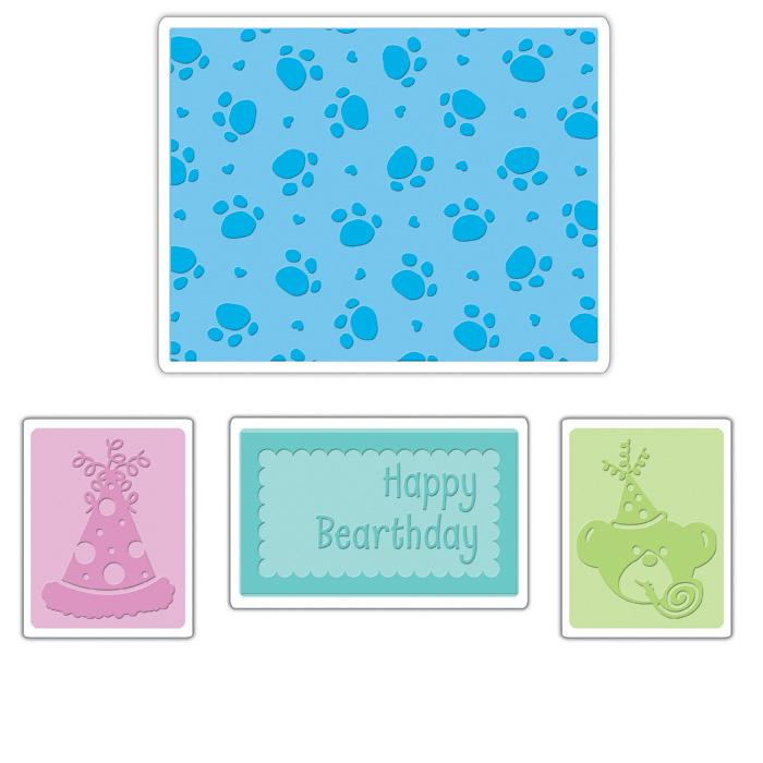 Sizzix Textured Impressions Embossing Folders 4 Pack-Happy Bearthday Set