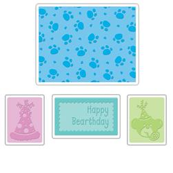 Sizzix Textured Impressions Embossing Folders 4 Pack-Happy