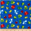 Timeless Treasures Happy Bugs Flannel Bugs on Sketch Blue