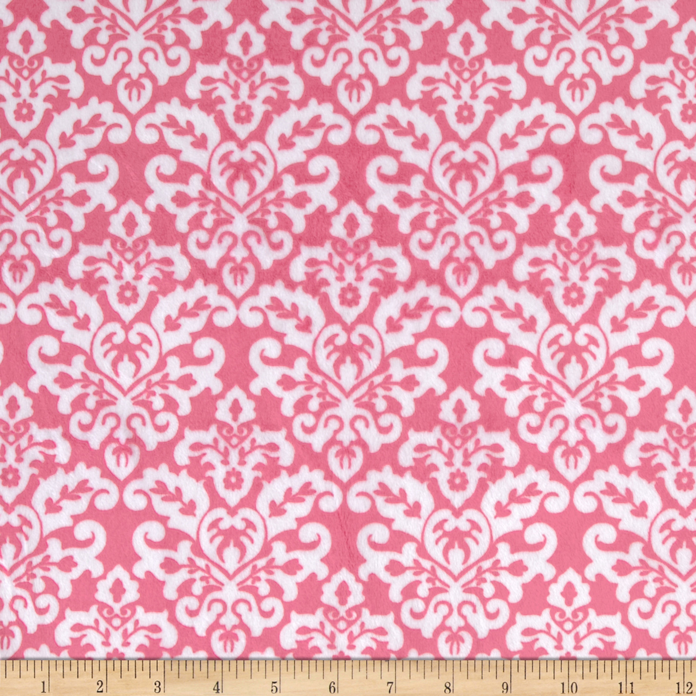 Minky Cuddle Classic Damask Fuchsia/Snow Fabric