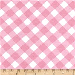 Cotton Stretch Jersey Knit Checkered Pink