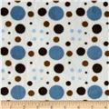 Minky Venus Dots Light Blue/Brown