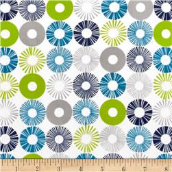 Cozy Cotton Flannel Circles Marine Fabric