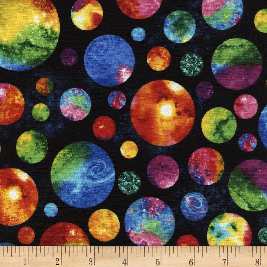 Timeless treasures out of this world multi planets planet for Planet print fabric