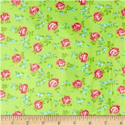 Tanya Whelan Sugar Hill Laminated Cotton Scattered Roses Green