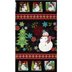 Holly Jolly Snowman Panel 24 In. Multi